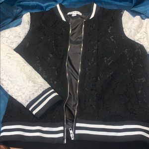 Lace Zip up Varsity Jacket